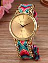 Women's Quartz Wrist Watch Braided Rope Fabric Band Bohemian Fashion Multi-Colored