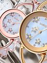 Mulheres Relogio de Moda Relogio Elegante Japanes Quartzo Lega Banda Flor Elegant Rigida Prata Dourada Ouro Rose