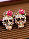 Women\'s Skull Stud Earrings - Pink Earrings For Daily Casual