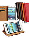 Case For Samsung Galaxy Samsung Galaxy Case Card Holder Wallet with Stand Flip Full Body Cases Solid Color Genuine Leather for S3