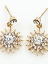 Brincos Curtos Cristal Moda Europeu Strass Chapeado Dourado 18K ouro imitacao de diamante Austria Cristal Dourado Prata Ouro Rose Joias