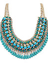 Women\'s Lasso Statement Necklace - Leather Drop Statement, Fashion, Folk Style Green, Blue, Light Pink Necklace Jewelry For Party, Special Occasion, Birthday