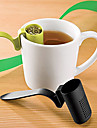 Spoon Shape Plastic Tea Infuser Strainer Herbal Spices Leaf Teaspoon (Random Color)