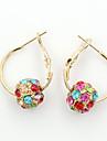 여성용 드랍 귀걸이 크리스탈 패션 유럽의 라인석 도금 골드 오스트리아 크리스탈 18K 금 모조 다이아몬드 보석류 의상 보석