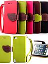 de haute qualite titulaire de la carte de portefeuille PU cuir flip Housse pour iPod touch 5 (couleurs assorties)