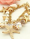 Women\'s Cuff Bracelet Unique Design Bohemian Fashion Imitation Pearl Cowry Shell Alloy Others Jewelry Daily Casual Costume Jewelry Golden