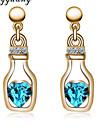여성용 크리스탈 라인석 드랍 귀걸이 - 그린 블루 귀걸이 제품 결혼식 파티 일상 캐쥬얼