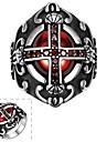 мода отдельных людей красный кубический оксид циркония крест кольцо из нержавеющей стали (черный) (1шт)