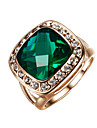 T&C Women\'s Classic 18k Rose Gold Plated Big Shape Emerald Green Crystal Cubic Zirconia Romantic Party Rings