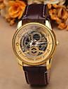 Мужской Наручные часы С гравировкой Кварцевый Кожа Группа Черный Коричневый