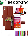 Case For Sony Xperia Z5 Sony Sony Xperia M5 Xperia Z5 Sony Case Card Holder Wallet with Stand Flip Full Body Cases Solid Color Hard PU