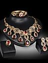 Κρυστάλλινο Φούντα Κοσμήματα Σετ - Cubic Zirconia Κρεμαστό Μοντέρνο, Πολυτέλεια, Πάρτι Περιλαμβάνω Χρυσό / Κόκκινο Για Πάρτι Ειδική Περίσταση Επέτειος / Cercei / Κολιέ