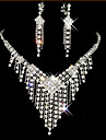 Jewelry Set Tassel Cute Party Cubic Zirconia Silver Plated Imitation Diamond Alloy Necklace Earrings