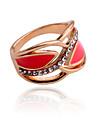 Femme Anneau de declaration - Cristal, Plaque argent, Plaque or Luxe 7 Blanc / Rouge Pour Soiree Quotidien Decontracte / Imitation Diamant