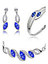 Crystal Jewelry Set - Party, Work, Casual Include Dark Blue / Green / Light Blue For Party / Birthday / Engagement / Earrings / Necklace