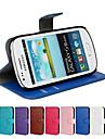 Coque Pour Samsung Galaxy Samsung Galaxy Coque Porte Carte Avec Support Clapet Coque Integrale Couleur unie faux cuir pour S3 Mini