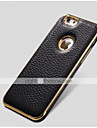 Special Design Metal Bumper Frame Genuine Leather Rear cover for iPhone 6 Plus(Assorted Colors)