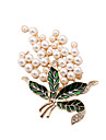 Fashion Women Trendy Pearl And Rhinestoen Set Enamel Metal Brooch