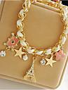 Women\'s Charm Bracelet Leather Bracelet Leather Tower Star Crown Ladies Party Bracelet Jewelry White For