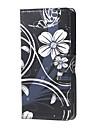 flores brancas e padrao de aleta da borboleta carteira de couro ficar caso com slot para cartao de microsoft lumia 650