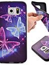 Capinha Para Samsung Galaxy Samsung Galaxy S7 Edge Estampada Capa traseira Borboleta TPU para S7 Active S7 plus S7 edge S7 S6 edge S6