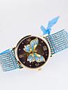 Femme Quartz Montre Bracelet Imitation de diamant Tissu Bande Decontracte Papillon Montre a diamant simule Mode Noir Blanc Bleu Rouge