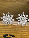 HUALUO@Earring Jewelry Exquisite Diamond Bright Diamond Snowflake Earrings