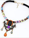 Women\'s Crystal Pendant Necklace / Statement Necklace - Leather Luxury, Folk Style Rainbow Necklace For Party