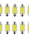 10pcs feston 31mm 36mm 39mm 3w 240lm 6000k torchis led blanc pour ampoule voiture de direction / lampe de lecture (DC12V)