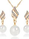 Per donna Diamante sintetico Parure di gioielli - Perla Donne Includere Collana / orecchini Argento / Dorato Per Matrimonio Feste Quotidiano Casual