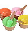 милый крем миска дети лед с множеством ложка экологичный десерт контейнер пластиковый стаканчик посуда