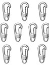FURA D2 Mini Zinc Alloy Keychain Carabiner - Black / Silver (10PCS)