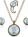 Lureme® Time Gem Series Simple Vintage Style Inspirational Proverbs Pendant Necklace Stud Earrings Bangle Jewelry Sets