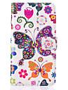 Назначение Кейс для  Samsung Galaxy Чехлы панели Кошелек Бумажник для карт со стендом Флип Чехол Кейс для Бабочка Искусственная кожа для