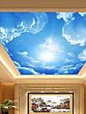 3d shinny o efeito de couro ceu azul mural de parede teto grande lobby e nuvens pintura do teto decoracao arte