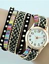 아가씨들 패션 시계 팔찌 시계 석영 섬유 밴드 보헤미안 블랙 화이트 블루 레드 핑크 노란색 베이지