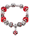 Lucky Doll Vintage Silver Plated Gemstone & Crystal / Cubic Zirconia Link/Chain / Beaded / Charm Bracelet #YMGP1022