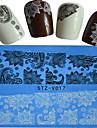 1pcs  New Nails Art Lace Sticker Colorful Image Design Beautiful Lace Flower Manicure Nail Art Tips STZ-V016-020