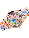 Women\'s Fashion Watch Casual Watch Quartz Japanese Quartz Silicone Band Flower Black White Brown Multi-Colored
