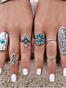 Women\'s Knuckle Ring Silver Silver Plated Turquoise Alloy Jewelry Personalized Vintage Bohemian European Punk Wedding Party Gift Daily
