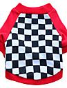 Chat Chien Tee-shirt Vetements pour Chien Geometrique Noir Rouge Coton Costume Pour les animaux domestiques Homme Femme Mode