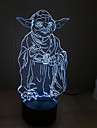 Yoda Touch Dimming 3D LED Night Light 7Colorful Decoration Atmosphere Lamp Novelty Lighting Light