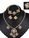 la mode des bijoux de mariage vintage fixe cristal alliage boucles d\'oreilles collier bracelet bague de la chaine pour les femmes toutes