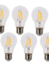 6pcs 4W 400 lm E26/E27 LED Filament Bulbs A60(A19) 4 leds COB Waterproof Decorative Warm White Cold White AC 220-240 V