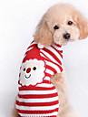 고양이 강아지 스웨터 강아지 의류 귀여운 크리스마스 새해 스트라이프 레드