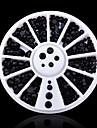 Mix 3sizes Black 3d Nail Rhinestone Pearls Art Flatback  Sticker Decoration Wheel