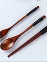 Bois Fourchette de table / Louche a sauce / baguettes Cuilleres / Fourchettes / Chopsticks 4 Pieces