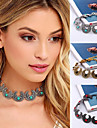 Women\'s Turquoise Choker Necklace / Tattoo Choker - Silver Plated, Gold Plated, Turquoise Tattoo Style, Vintage, Bohemian Black, Red, Blue 32cm Necklace For Party