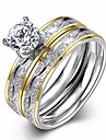 Vintage Stainless Steel Ring Charm Female Cz Diamond Jewelry Pair Of Wedding Rings Gold-Plated Ring
