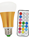 8W E26/E27 LED Globe Bulbs A60(A19) 1 COB 900 lm Warm White RGB RGB multicolor+ Warm White2800K K Infrared Sensor Dimmable